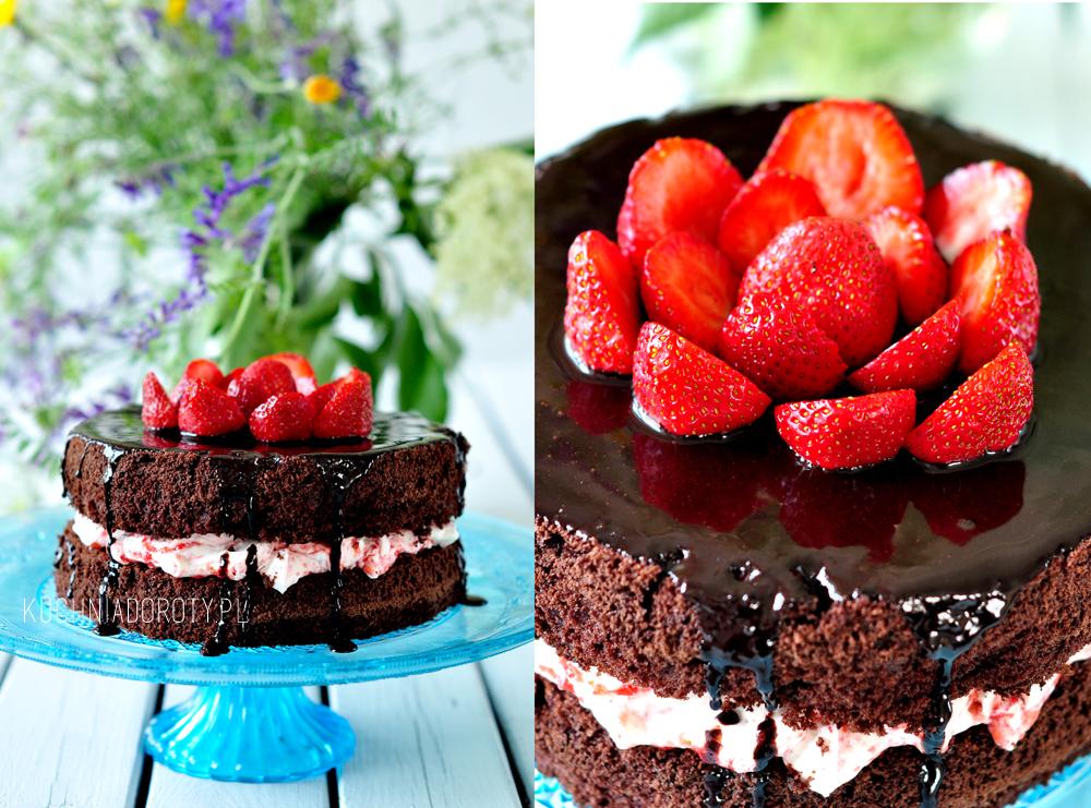 Tort czekoladowo truskawkowy