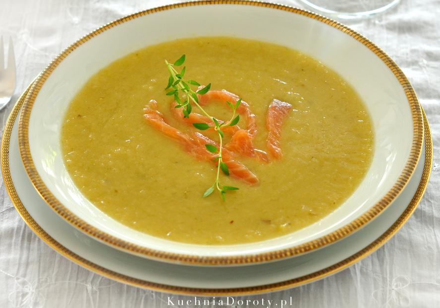 Zupa Krem z Porów z Wędzonym Łososiem