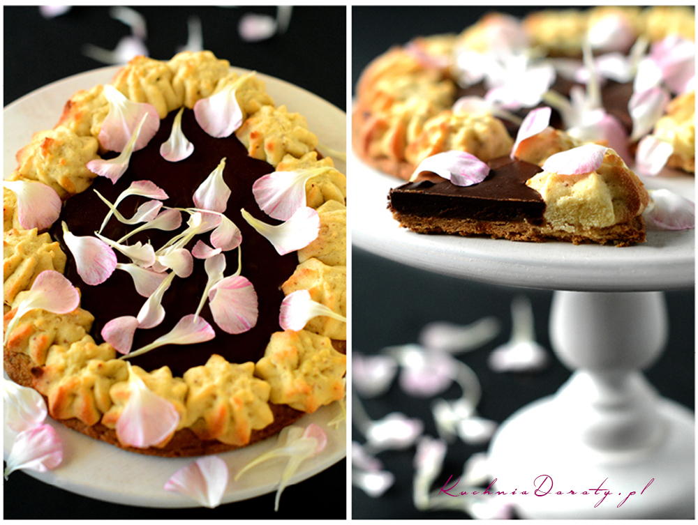 Mazurek krucho – rozetkowy z masą czekoladową