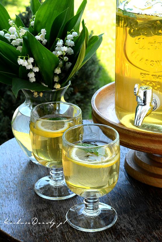 herbata, mrożona, zielona, lato, lód