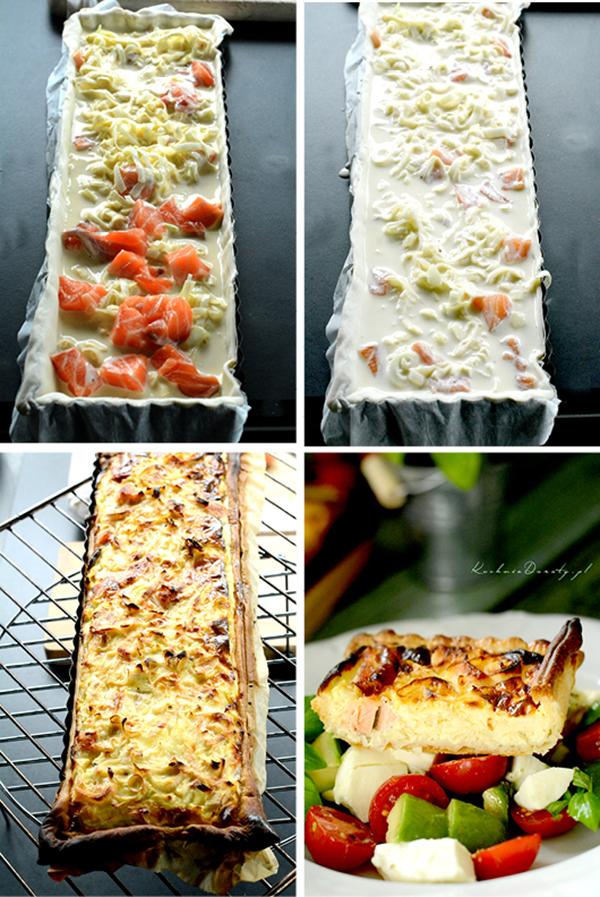 tarta, tarta przepis, tarta z łososiem, tarta z łososiem przepis, tarta z łososiem i porami, tarta z łososiem i porami przepis, ciasto francuskie, ciasto francuskie przepis, ciasto, tarta na słono, tarta na słono przepis, łosoś, łosoś przepis, ciasto