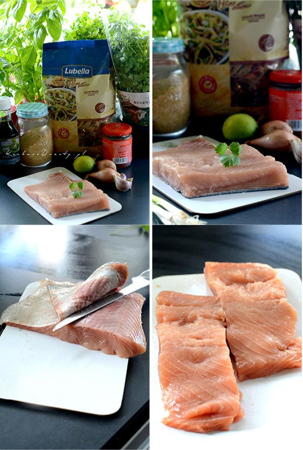 Składniki makaronu z łososiem